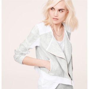 LOU & GREY Lightweight 100% Linen Moto Jacket M